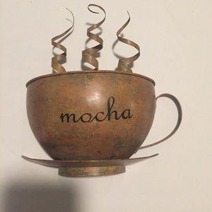 Metal mocha coffee wall decoration